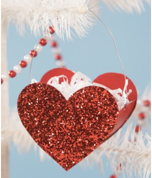 Tin Glitter Heart Bucket Mini Ornament