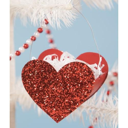 Tin Glitter Heart Bucket Mini Ornament