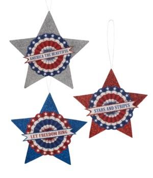 Americana Glitter Stars Large S/3