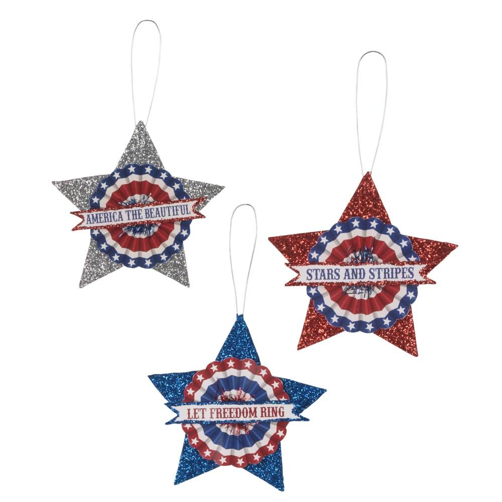 Americana Glitter Star Ornament 3A
