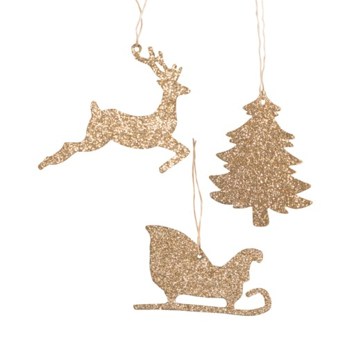 Gold Glitter Christmas Silhouette Ornament 3/A