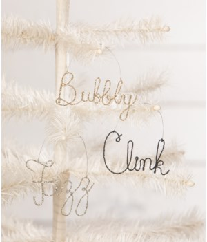 New Years Wire Word Ornament 3/A