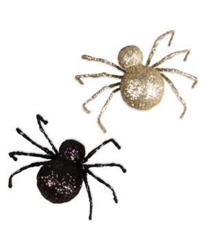 Black & Gold Glittered Spider 2/A