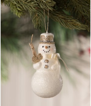 Old Gold Snowman Ornament