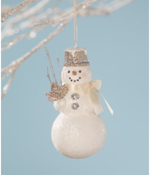 Platinum Snowman Ornament