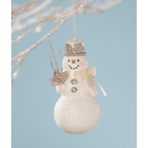 Platinum Snowman Ornament