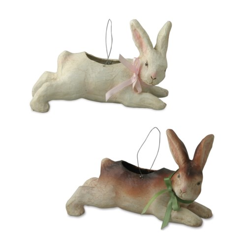 Leaping Bunny Bucket Paper Mache 2/A