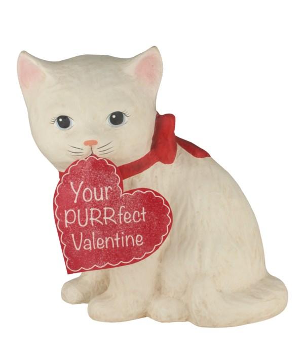 Purrfect Valentine Kitty Medium Paper Mache