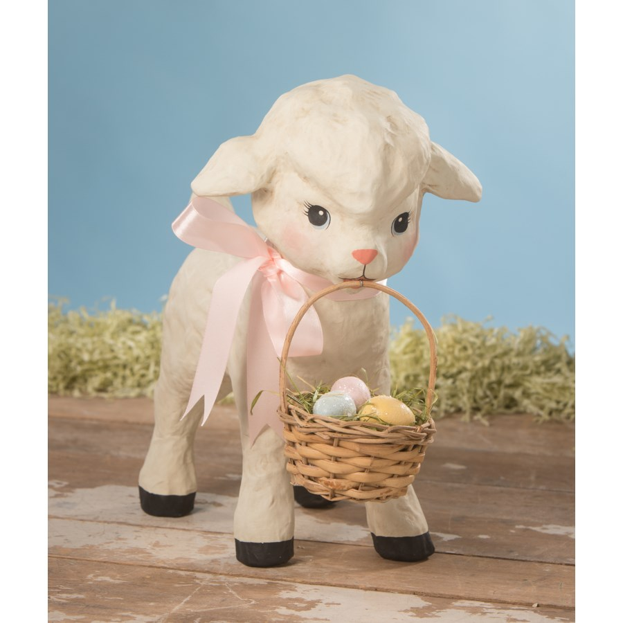 Spring Lamb With Basket Medium Paper Mache