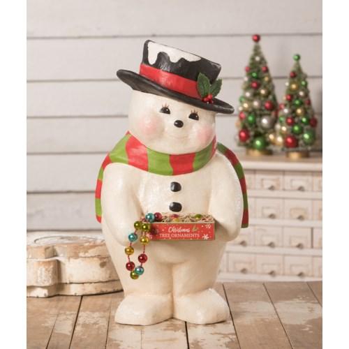Deck the Halls Snowman Large Paper Mache