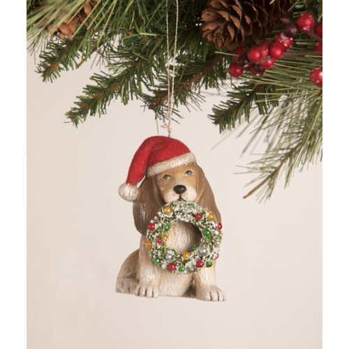Puppy with Wreath Ornament