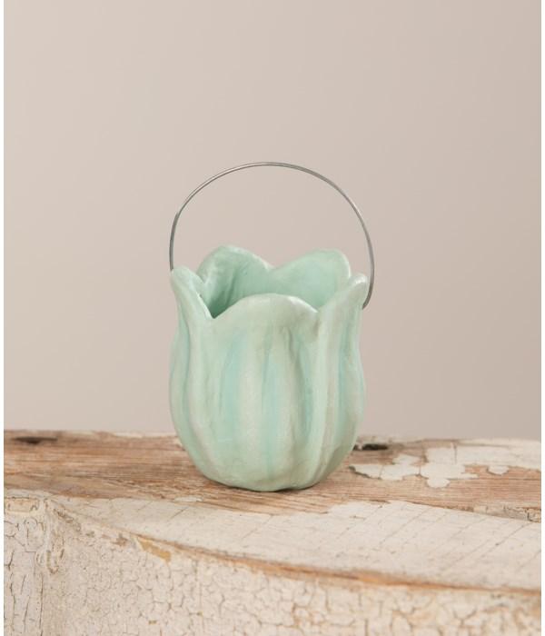 Tulip Bucket Blue Paper Mache