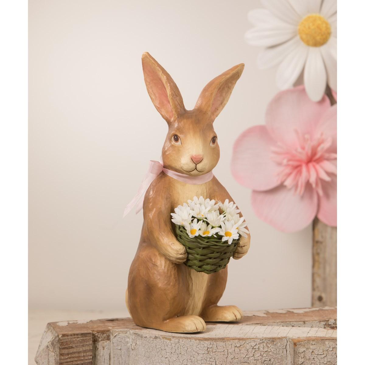 """Flowers Bunny Paper Mache 14"""""""