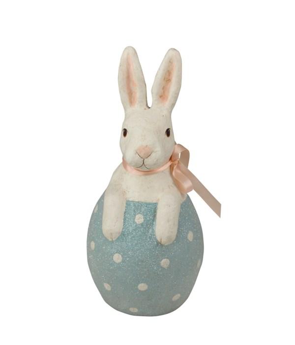Bunny in Blue Egg Paper Mache