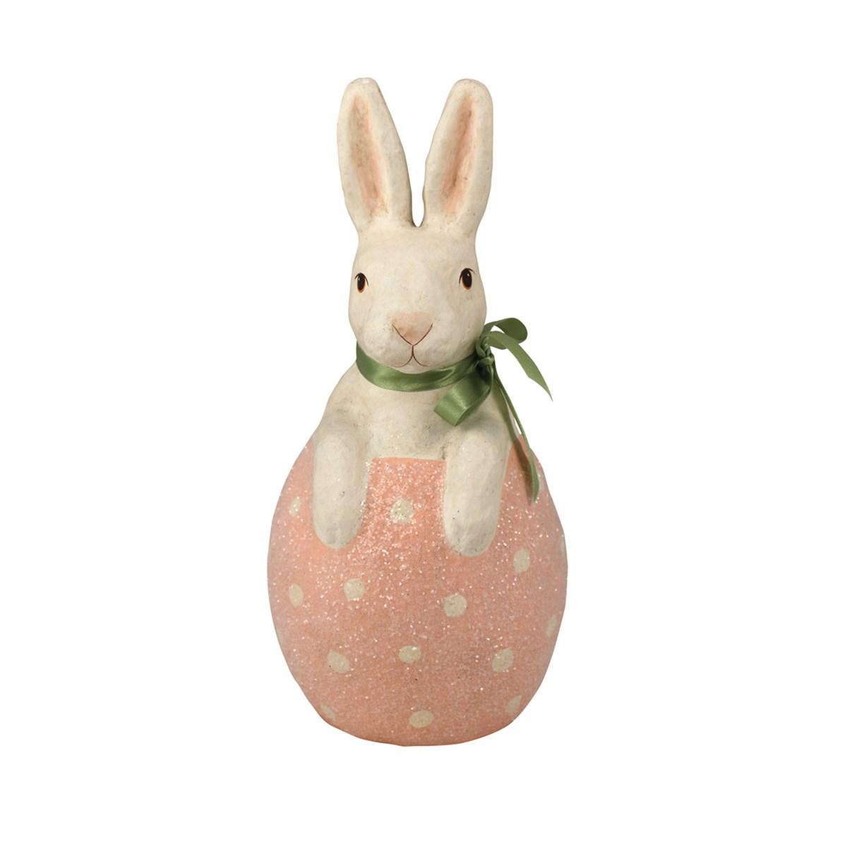 Bunny in Pink Egg Paper Mache