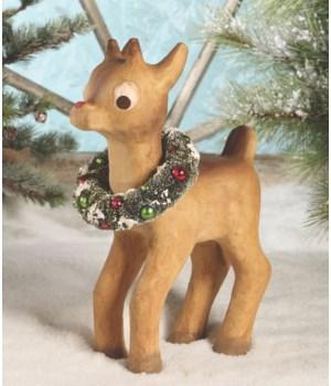 Retro Red Nosed Reindeer Paper Mache