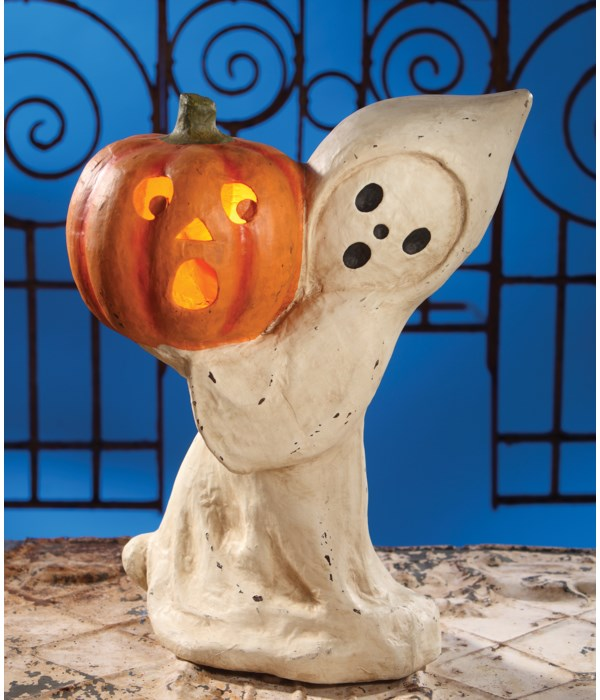 Ghost With Pumpkin Large Paper Mache