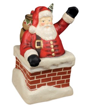Santa in Chimney Large Paper Mache