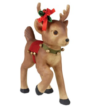 Retro Reindeer With Bells Large Paper Mache