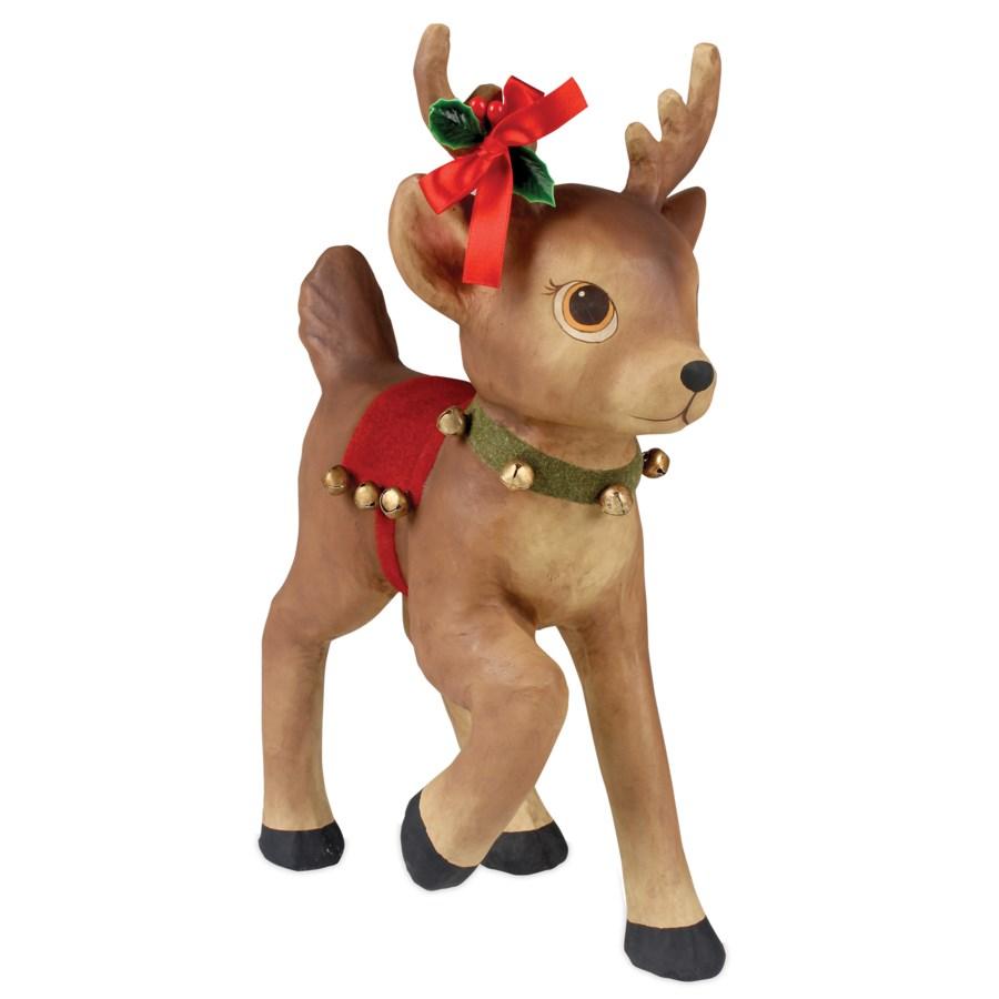 Retro Reindeer With Bells Large Paper Mache