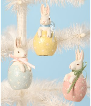 Bunny in Egg Ornament 3/A