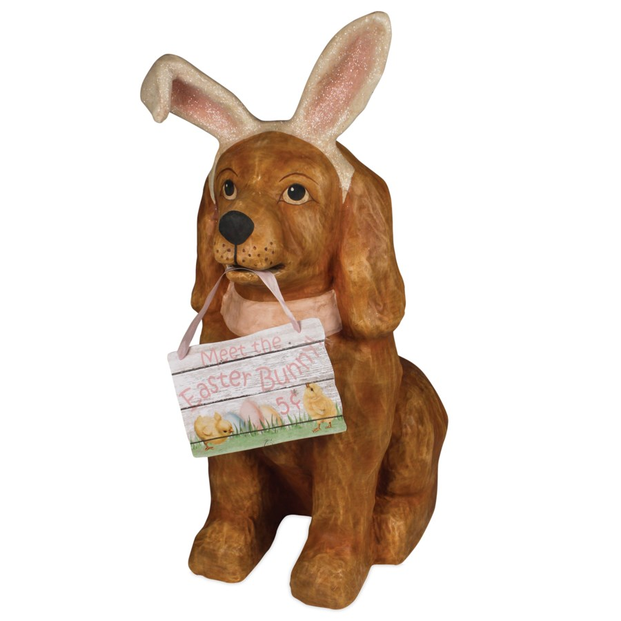 Easter Bunny Dog Large Paper Mache