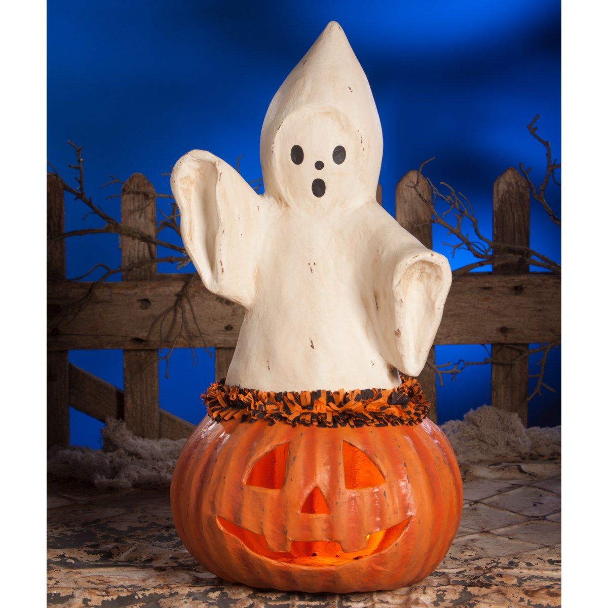 Ghost Coming Out Of Pumpkin Large Paper Mache