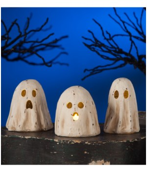 Ghoulish Ghost Luminary Paper Mache 3A