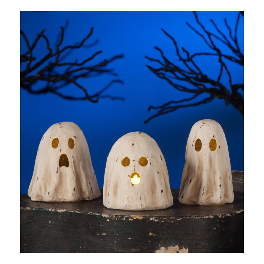 Ghoulish Ghost Luminary Paper Mache 3/A