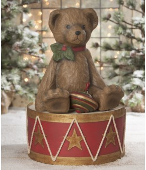 Teddy Bear on Drum Large Paper Mache