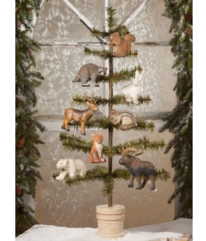 Woodland Animal Paper Mache Ornament 8/A