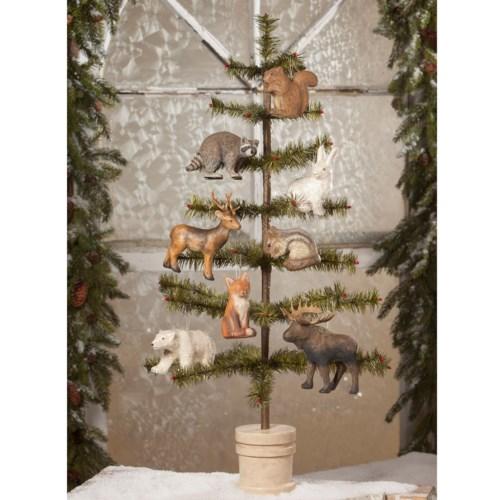 Woodland Animal Paper Mache Ornament 8A