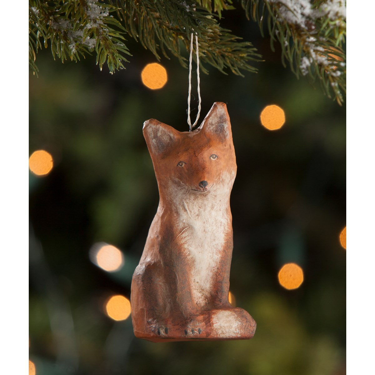 Fox Paper Mache Ornament