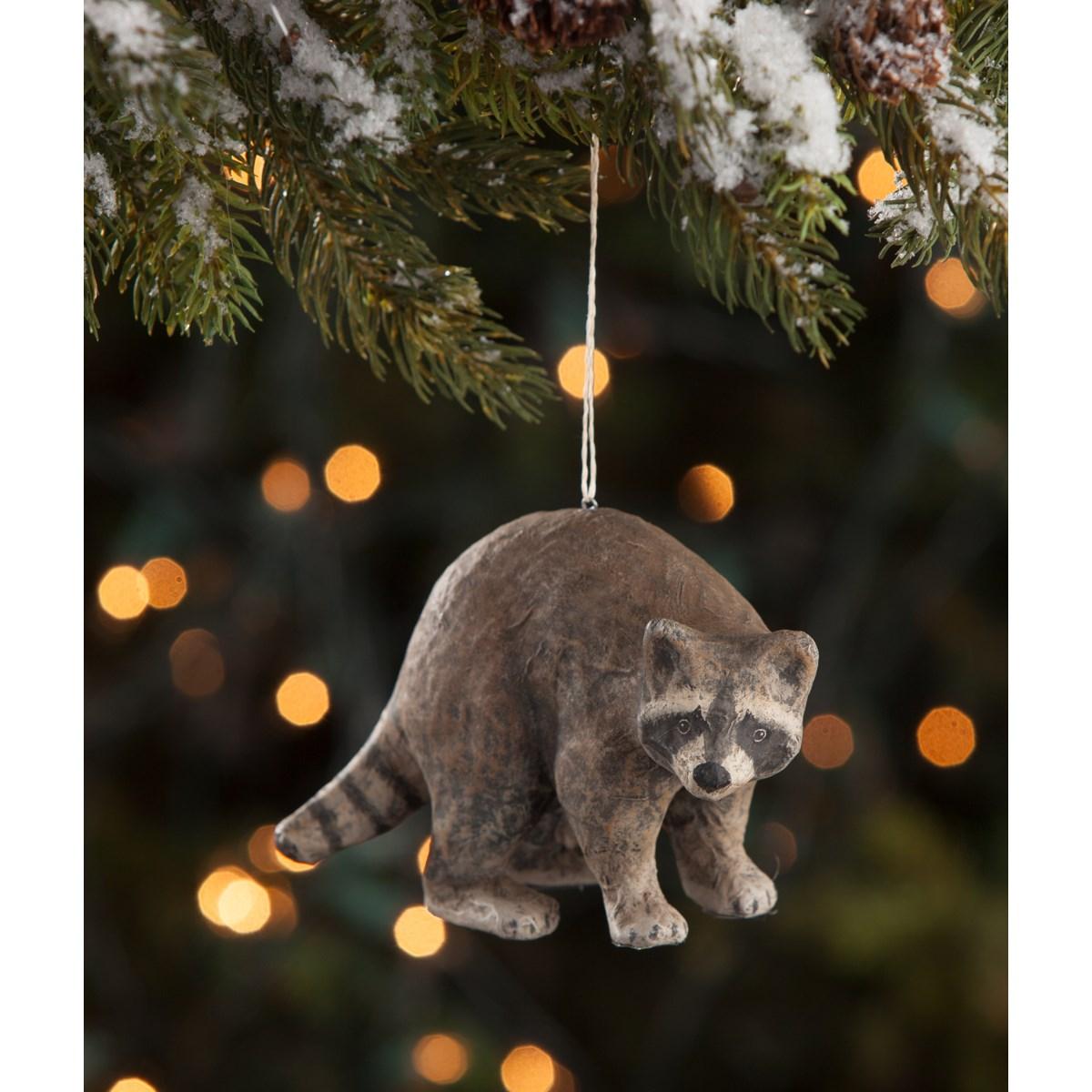 Raccoon Paper Mache Ornament