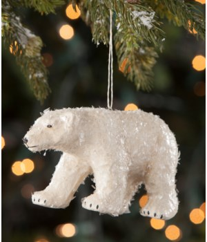 Polar Bear Paper Mache Ornament