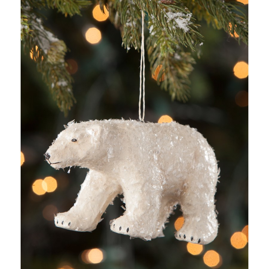 Polar Bear Paper Mache Ornament