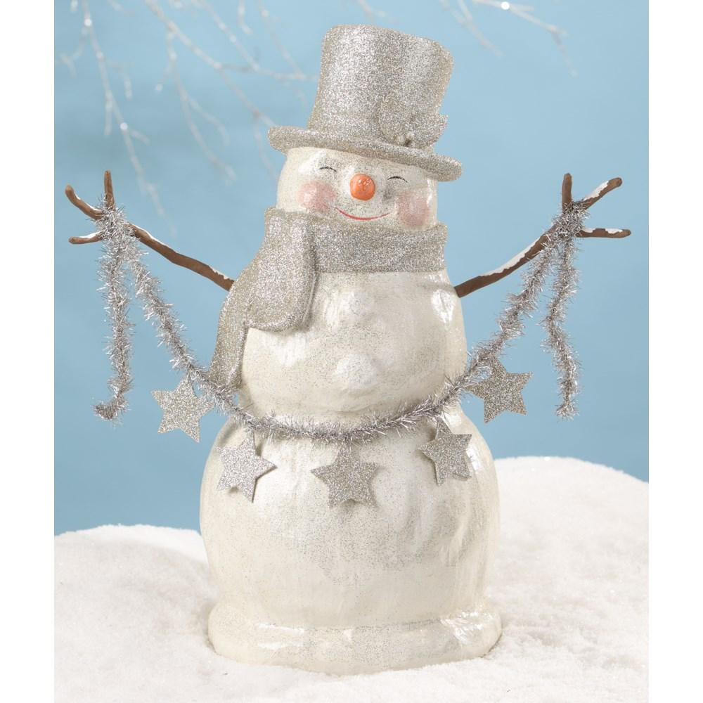 Platinum Smiley Snowman Large Paper Mache