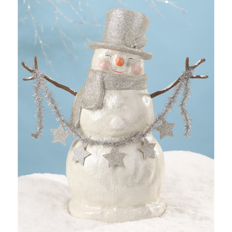 Platinum Smiley Snowman Large Paper Mache