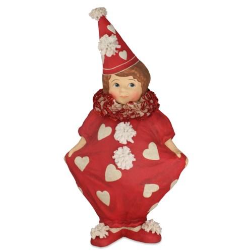 Valentine Clown Girl Large Paper Mache