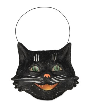 Vintage Happy Cat Bucket Paper Mache