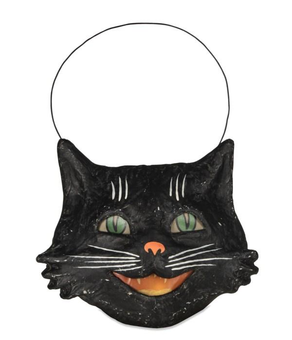 Vintage Happy Cat Bucket Paper Mache