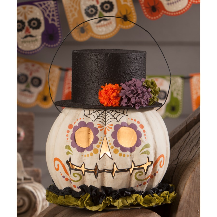Day of Dead Pumpkin Bucket Paper Mache