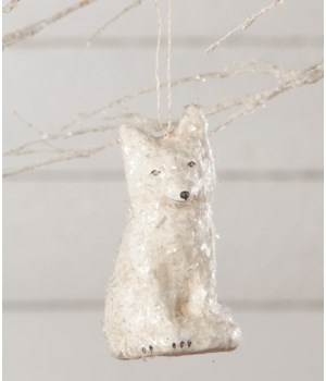 Arctic Fox Paper Mache Ornament