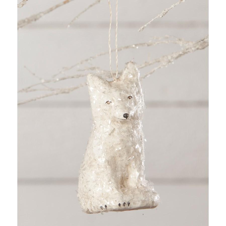 Arctic Fox Paper Mache Ornament
