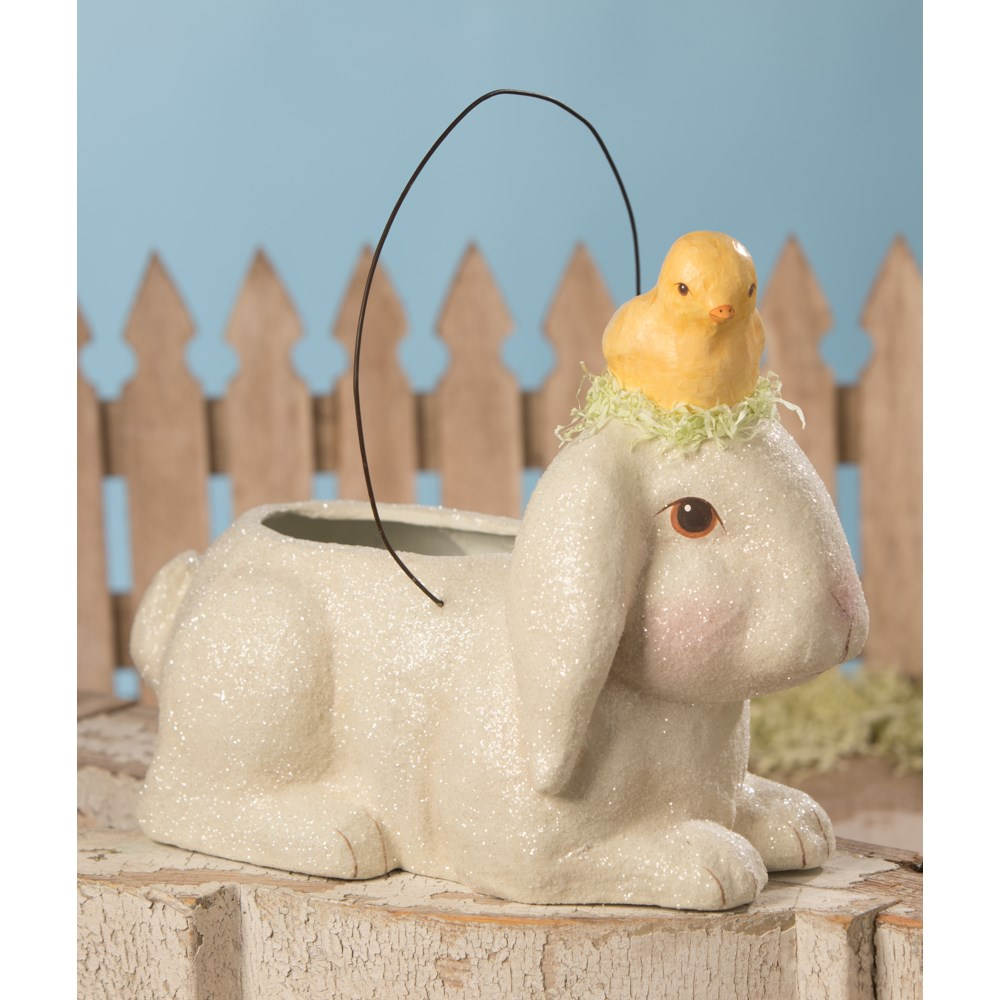 Bunny With Little Chick Bucket Paper Mache