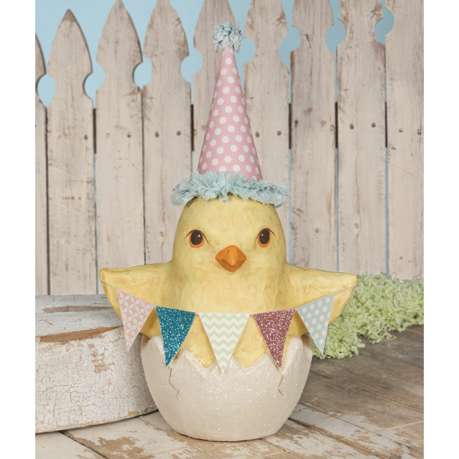 Spring Party Chick in Egg Medium Paper Mache