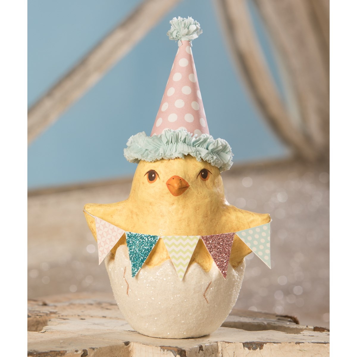 Spring Party Chick in Egg Small Paper Mache
