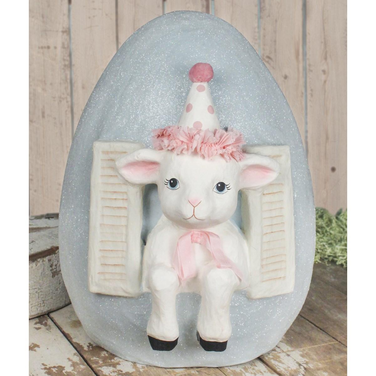 Party Lamb in Egg Paper Mache