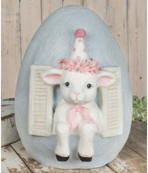 Party Lamb in Egg Paper Mache