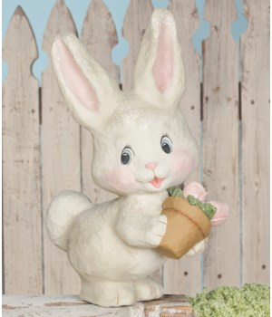 White Bunny With Flowers Large Paper Mache